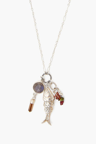 Lucky Koi and Tourmaline Charm Necklace