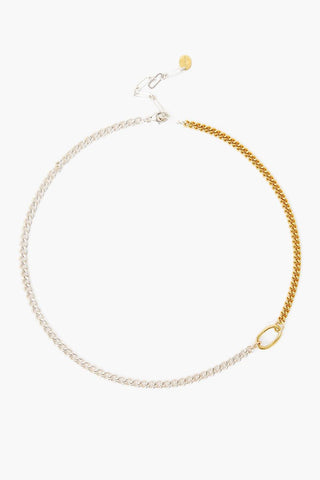 Sculptural Ring Gold and Silver Chain Link Necklace