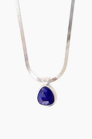 Lapis Pendant on Silver Herringbone Chain Necklace
