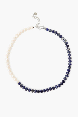 Sodalite and White Pearl Color Block Necklace