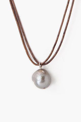 Grey Baroque Pearl on Leather Cord Necklace