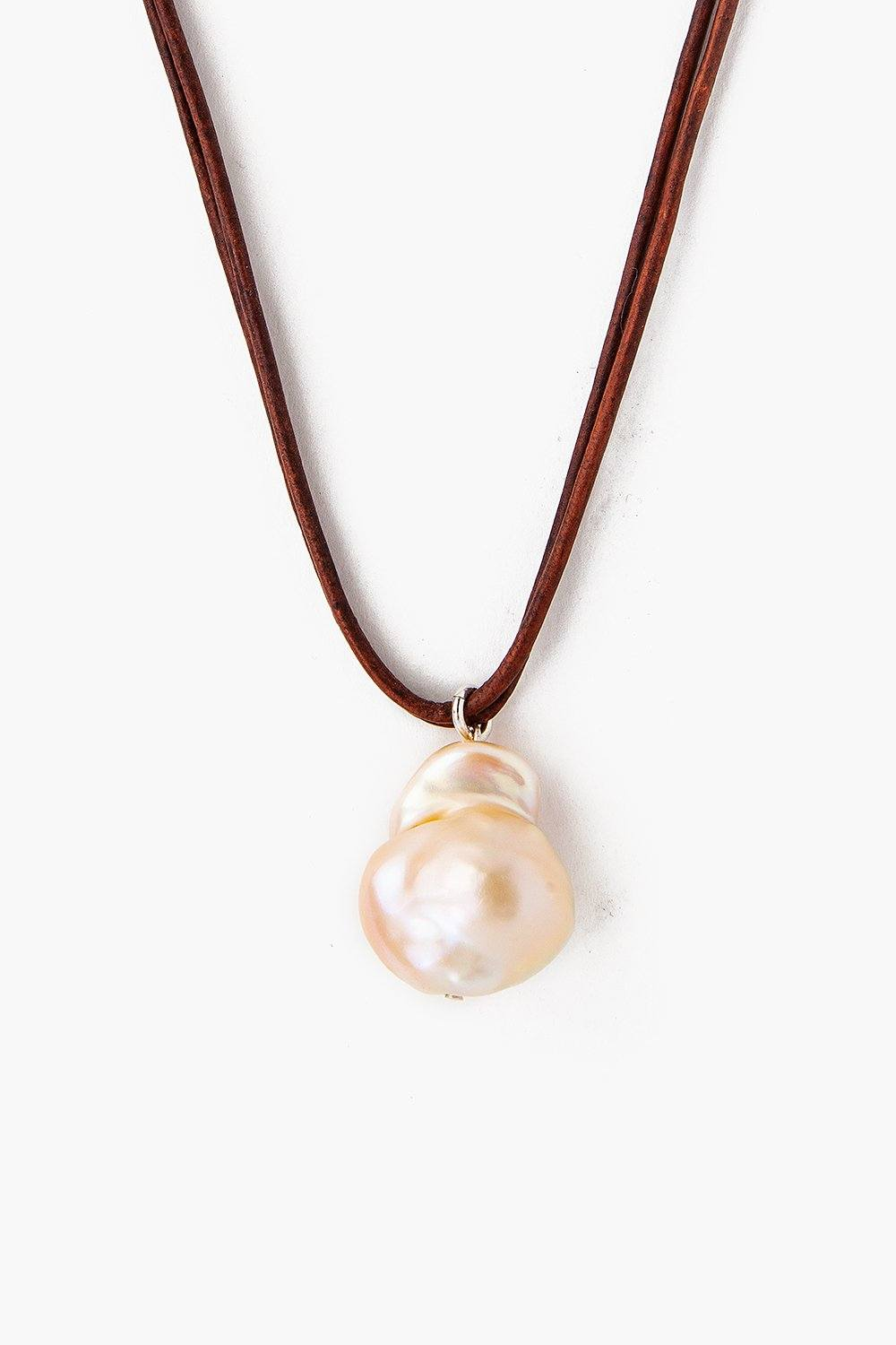 Natural Pink Baroque Pearl on Leather Cord Necklace