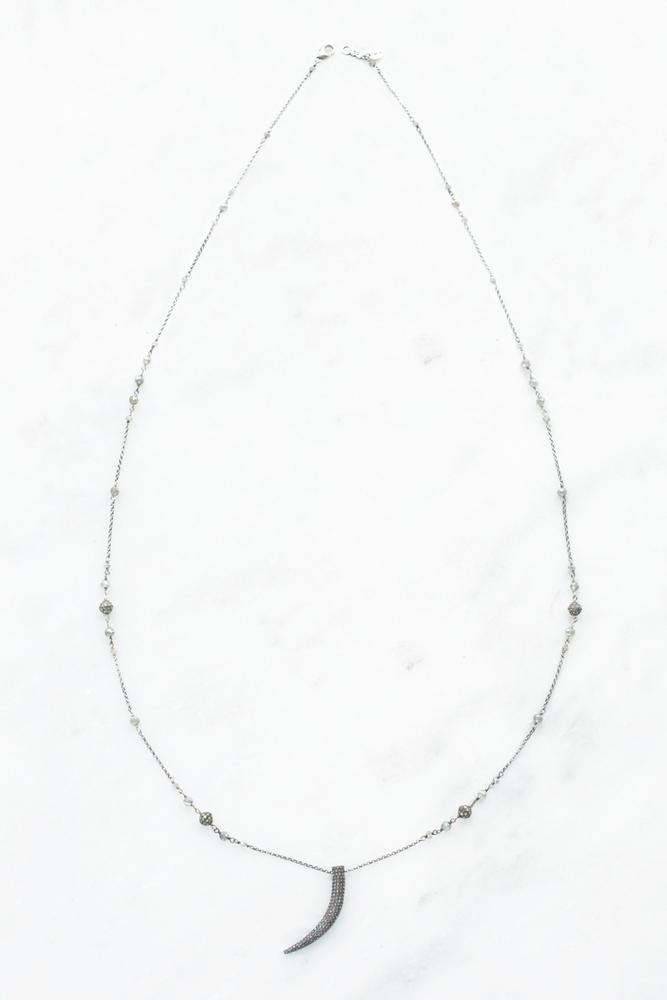 Mystic Lab and Diamond Horn Pendant Necklace