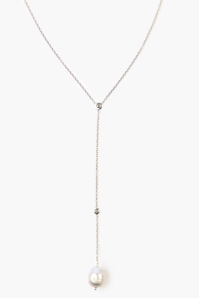 Grey Pearl Diamond Drop Necklace