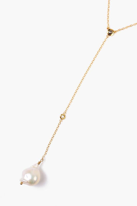 White Freshwater Pearl Drop Diamond Necklace