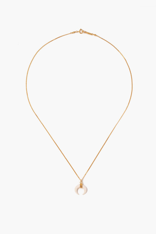 White Bone Horn Gold Diamond Pendant Necklace