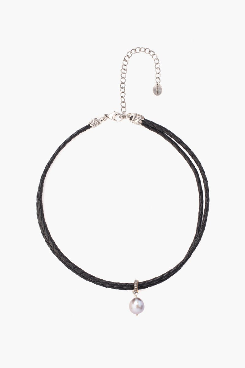 Diamond and Pearl Choker on Black Leather