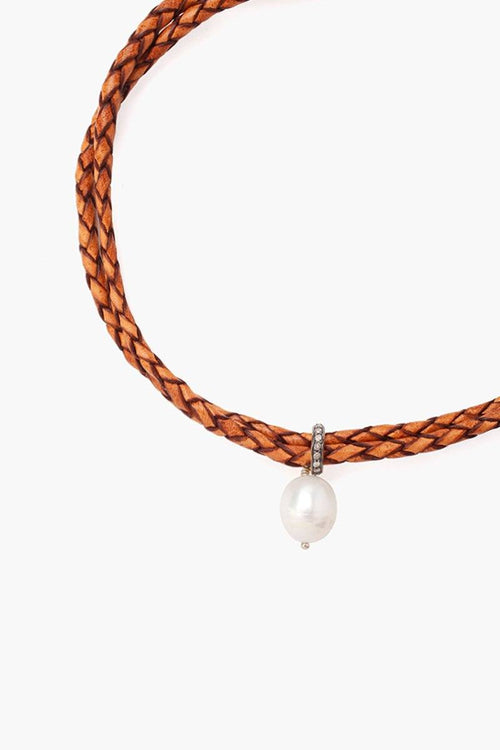 Diamond and Pearl Choker on Light Brown Leather