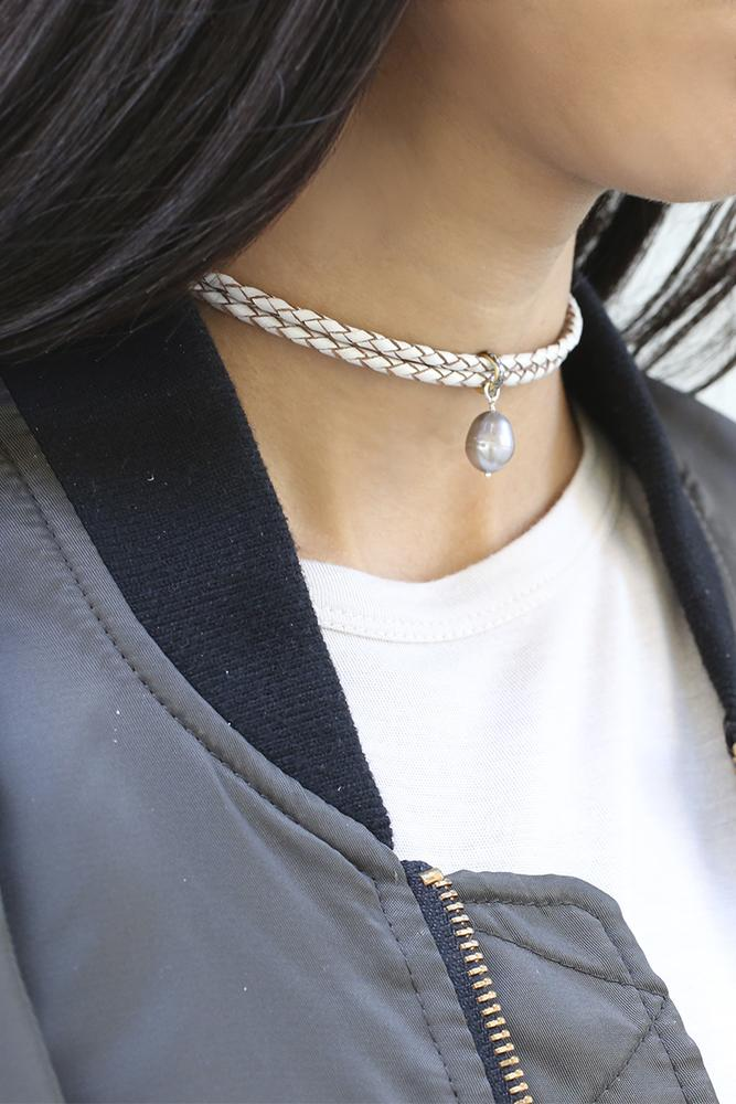 Diamond and Pearl Choker on White Leather