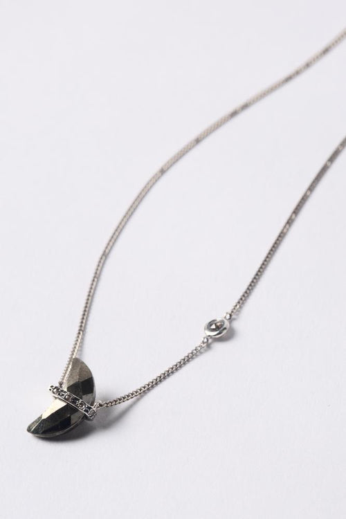 Pyrite Moon Diamond Necklace
