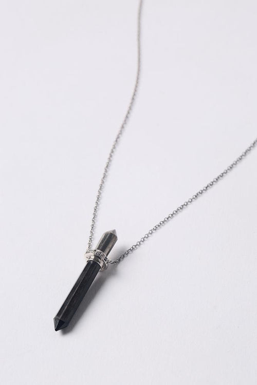 Pyrite Mix Diamond Bullet Pendant Necklace