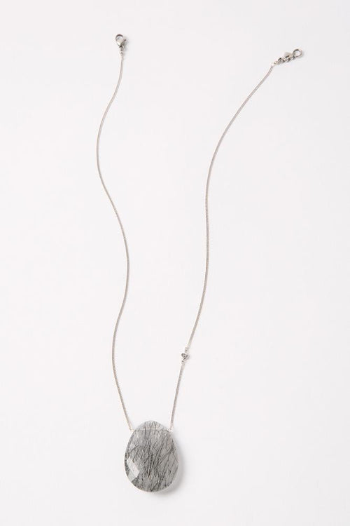 Black Tourmilated Quartz Diamond Pendant Necklace
