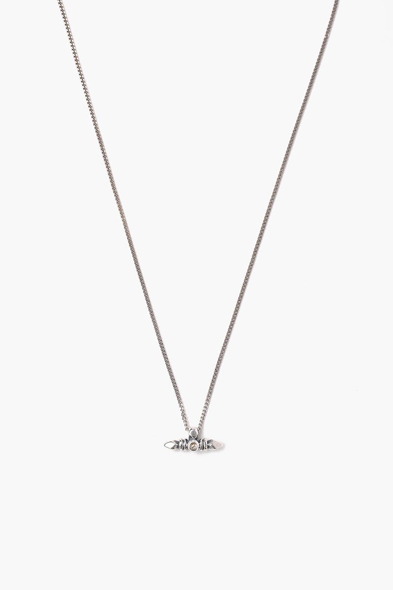 Silver Bullet Necklace With Champagne Diamond