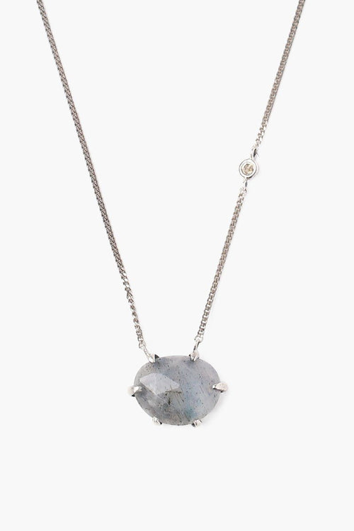 Labradorite Necklace With Champagne Diamond