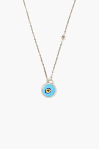 Sterling Silver Turquoise Evil Eye Necklace With Champagne Diamond