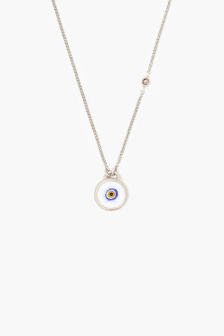 Sterling Silver White Evil Eye Necklace With Champagne Diamond