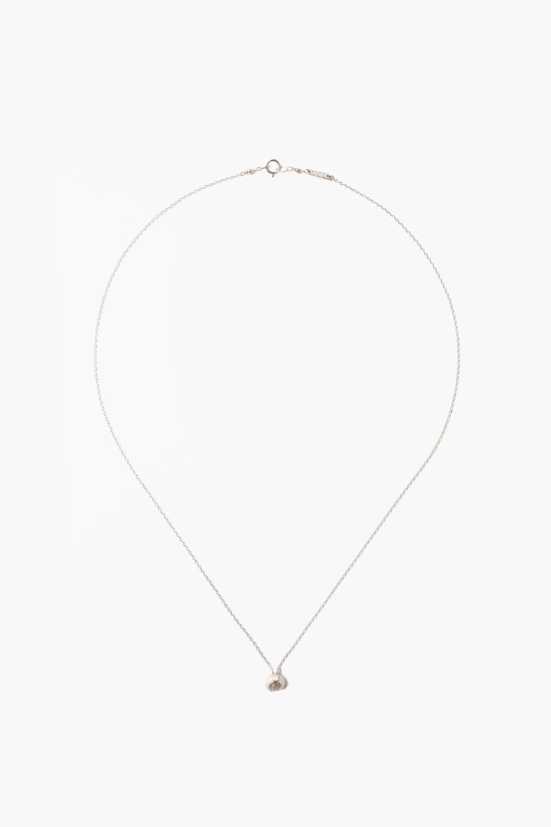 White Bone Micro Horn Necklace With Champagne Diamond