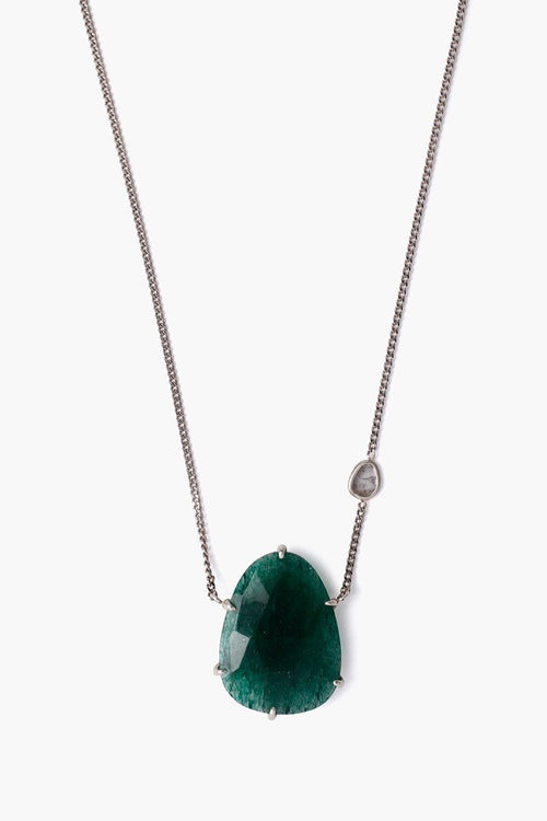 Indian Aventurine and Sliced Diamond Short Necklace