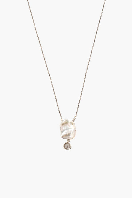 White Keshi Pearl and Diamond Necklace