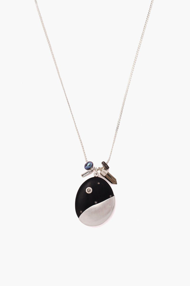 Black Horn Charm Silver Short Necklace