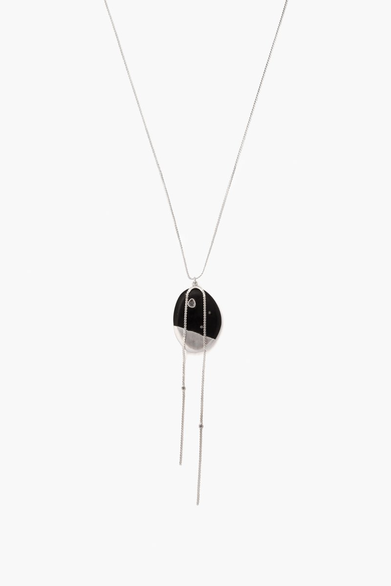 Black Horn Silver Long Necklace