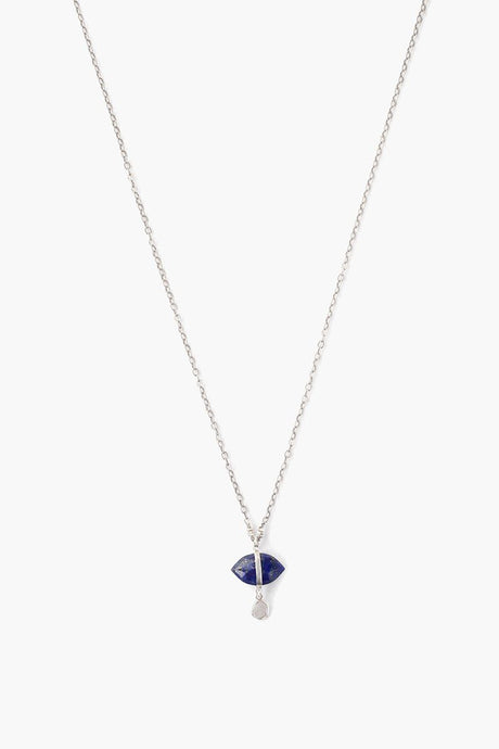 Lapis Evil Eye and Sliced Diamond Charm Necklace