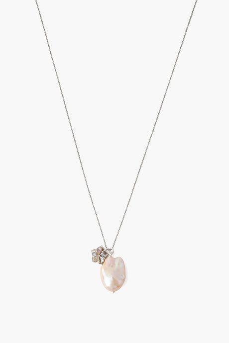 Natural Pink Baroque Pearl and Flower Charm Necklace