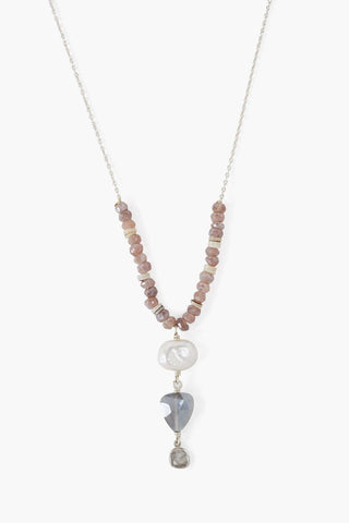 White Pearl Mix Sliced Diamond Lariat Necklace