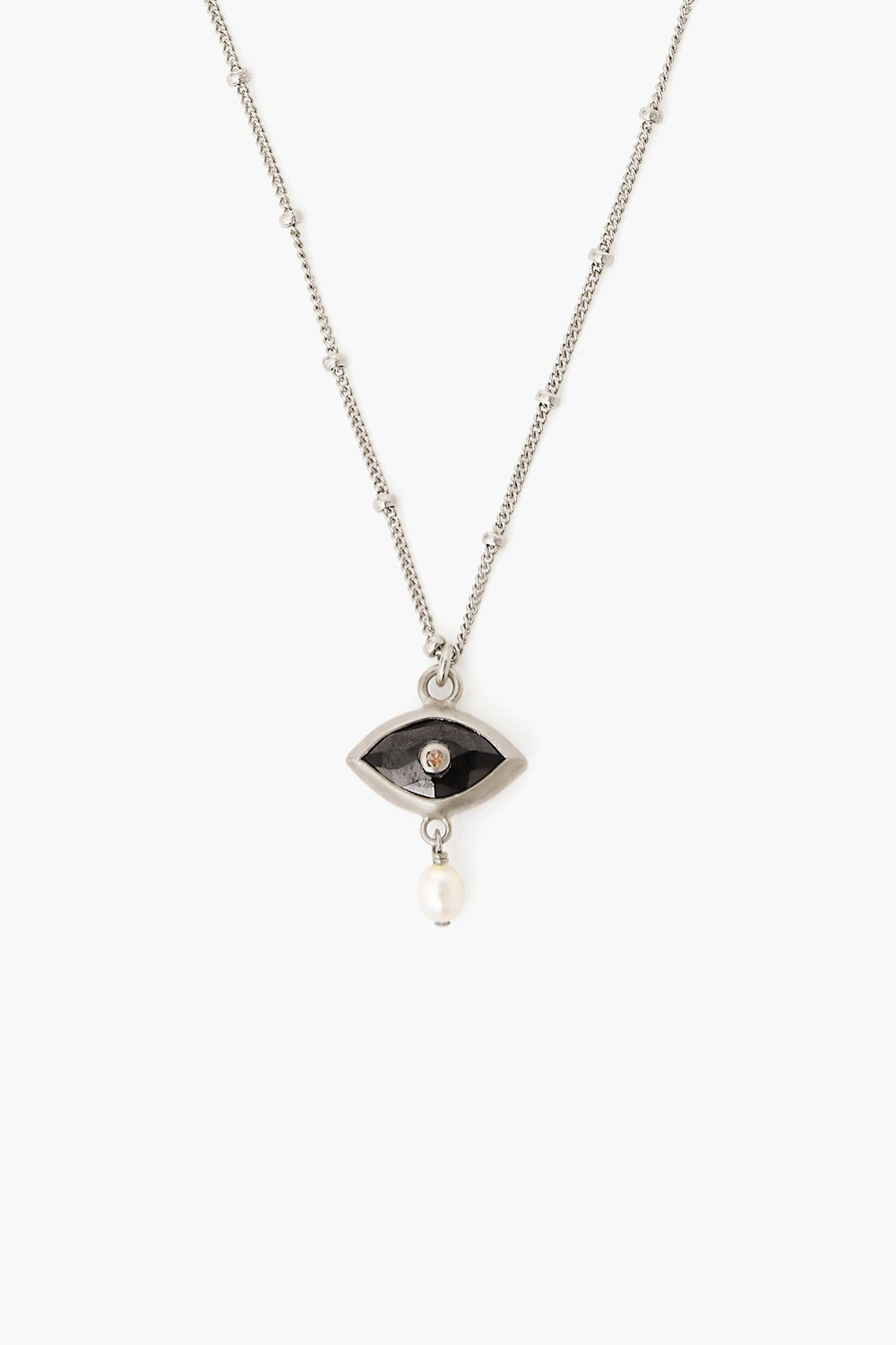 Pearl and Black Spinel Evil Eye with Diamond Silver Necklace