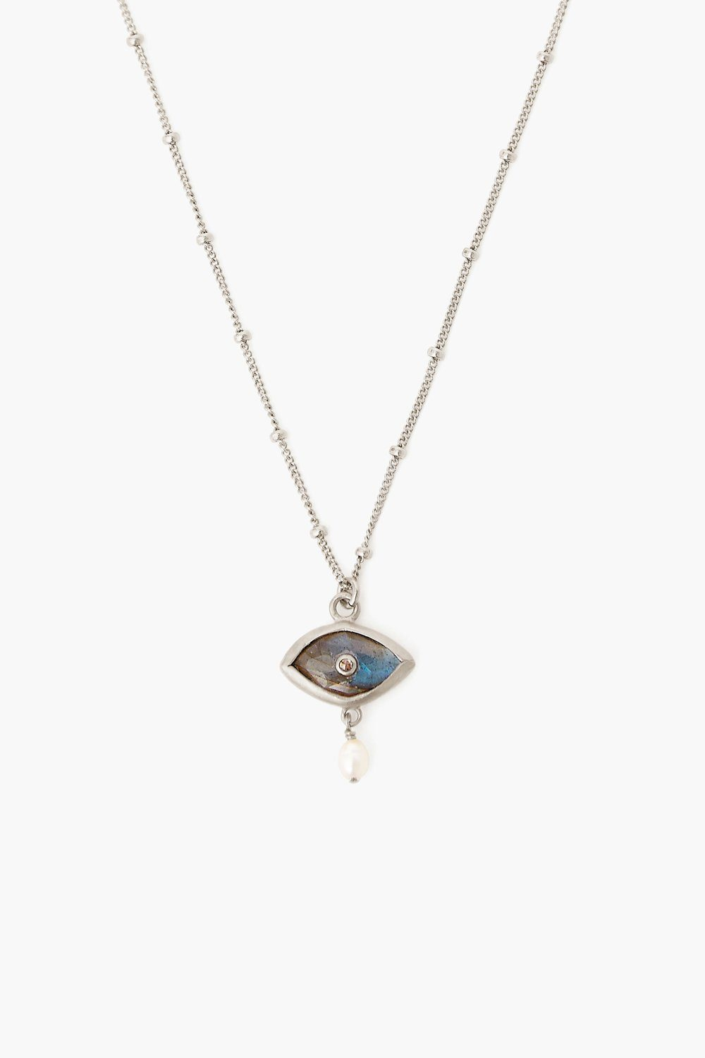 Pearl and Labradorite Evil Eye with Diamond Silver Necklace