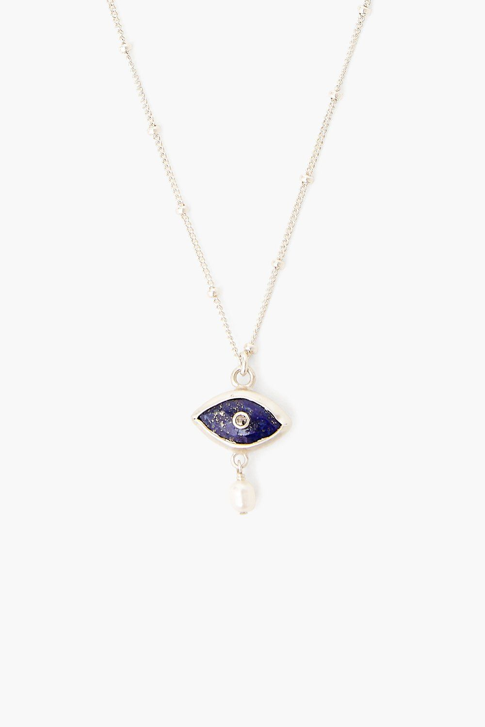Pearl and Lapis Evil Eye with Diamond Necklace