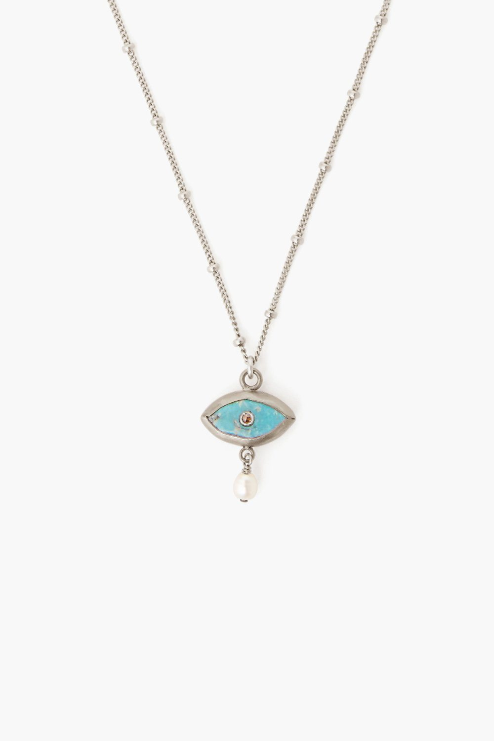 Pearl and Turquoise Evil Eye with Diamond Silver Necklace
