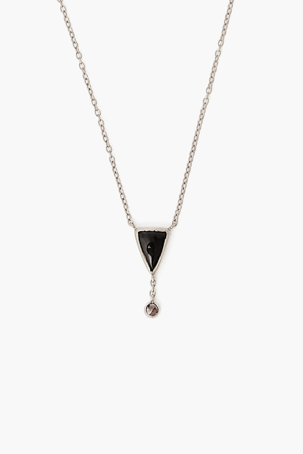 Black Agate Chip and Champagne Diamond Silver Necklace