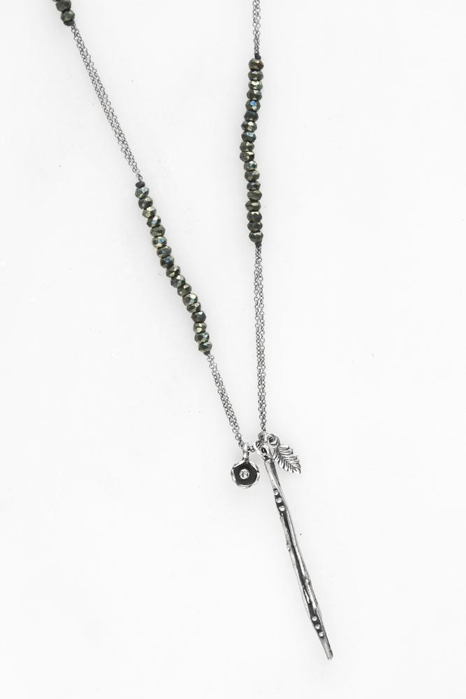 Green Black Spinel Diamond Charm and Dagger Necklace