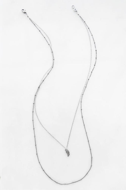 Silver Double Strand Necklace with Diamond Claw Charm