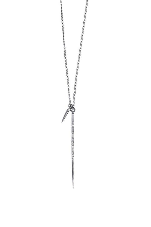 Gunmetal Link Chain And Dagger Necklace