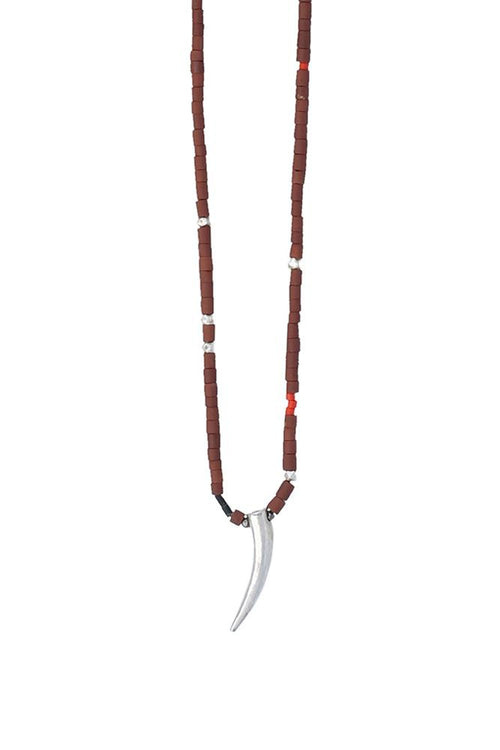 Brown Serpentine Strand and Claw Pendant Necklace
