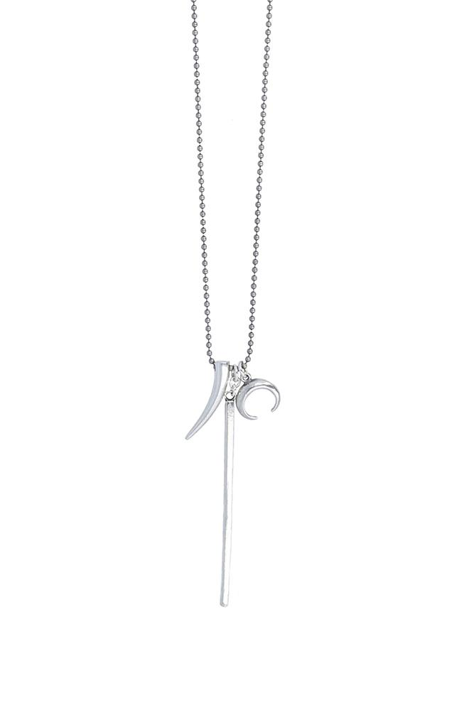 Silver Horn and Bar Pendant Necklace