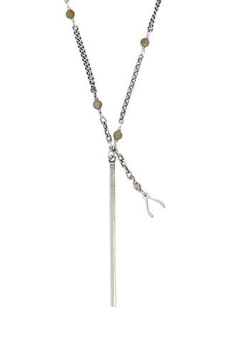 Sterling Silver Bead Layering Necklace with Dagger Pendant