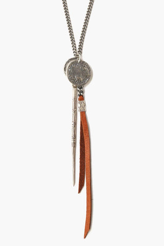 Saddle Charm And Leather Tassel Necklace