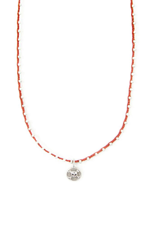 Silver Bead Pendant Necklace on Red Wax Linen