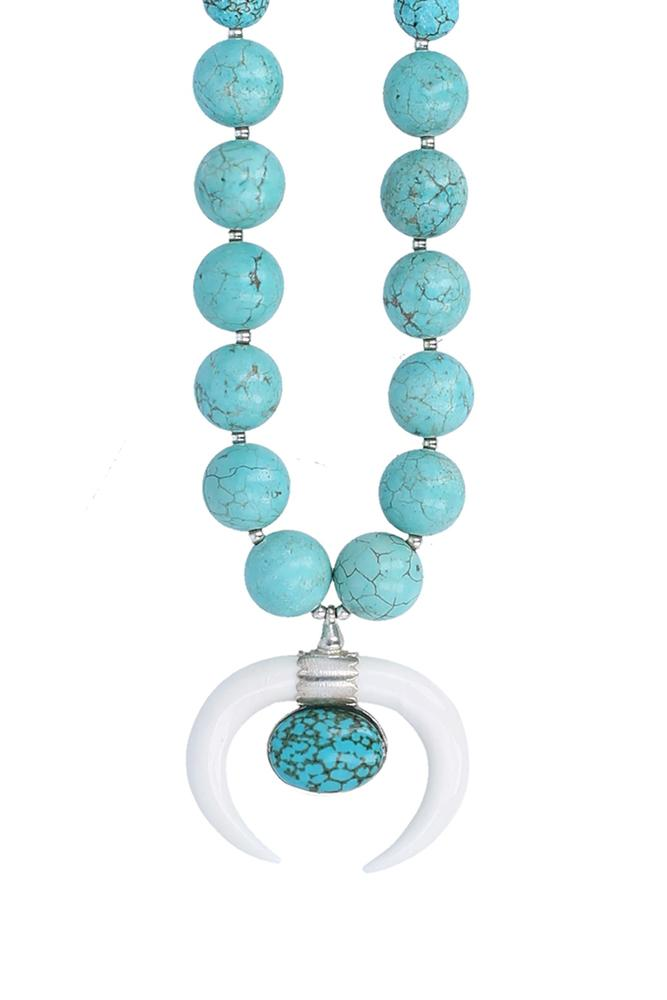 White Bone Pendant Turquoise Necklace
