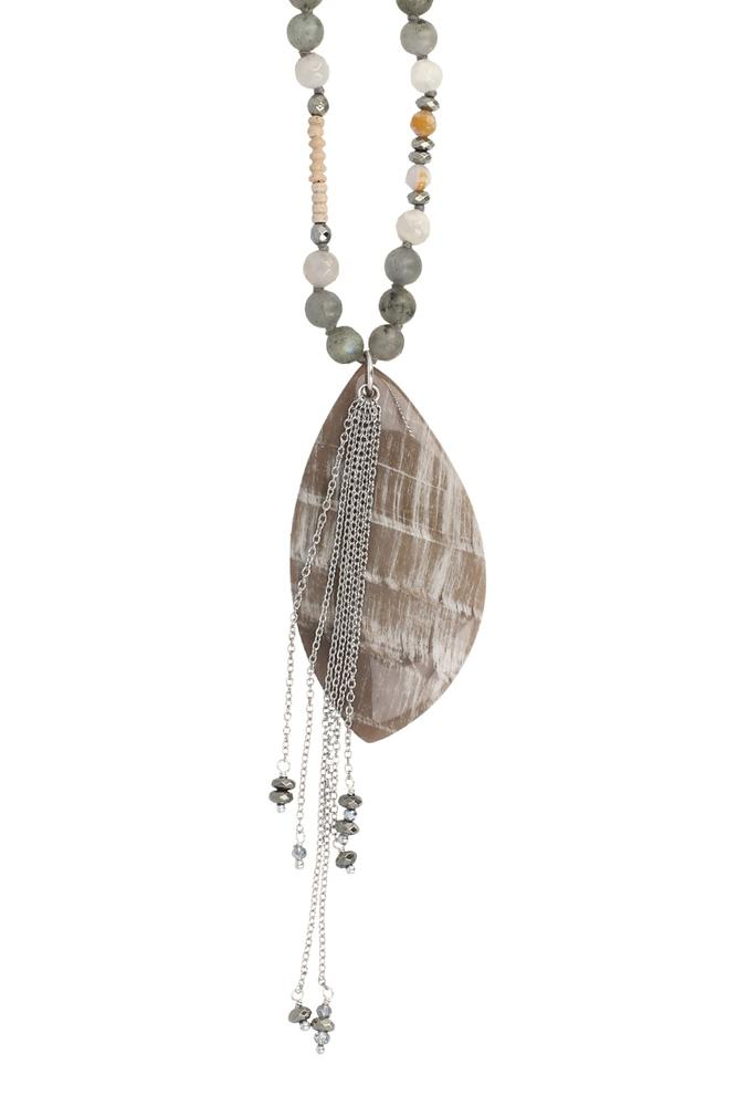 Labradorite and Chain Pendant Necklace