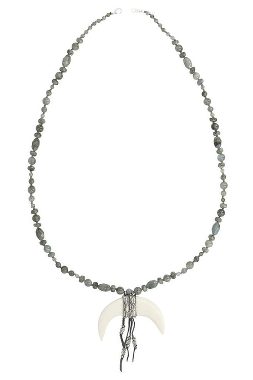 Labradorite Statement Bone Horn Necklace
