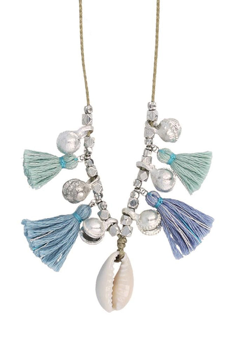 Blue Mix Charm Tassel Necklace