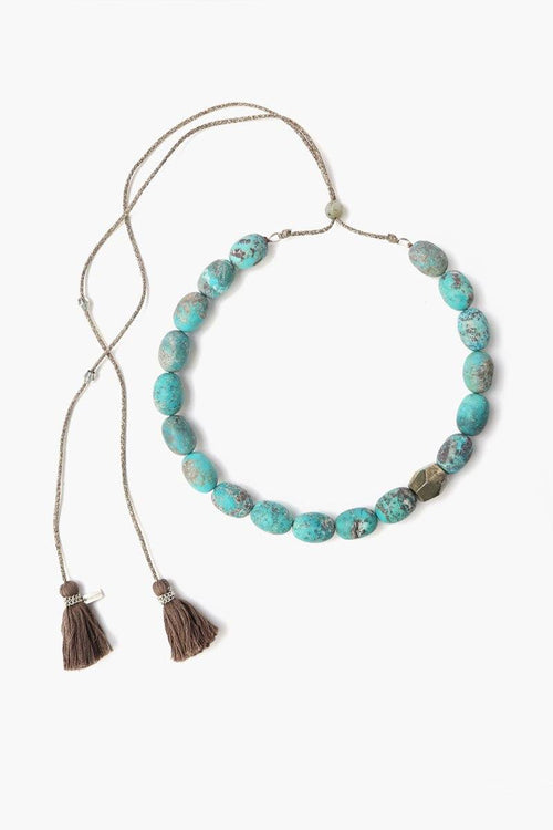 Turquoise Mix Stone Adjustable Tassel Necklace