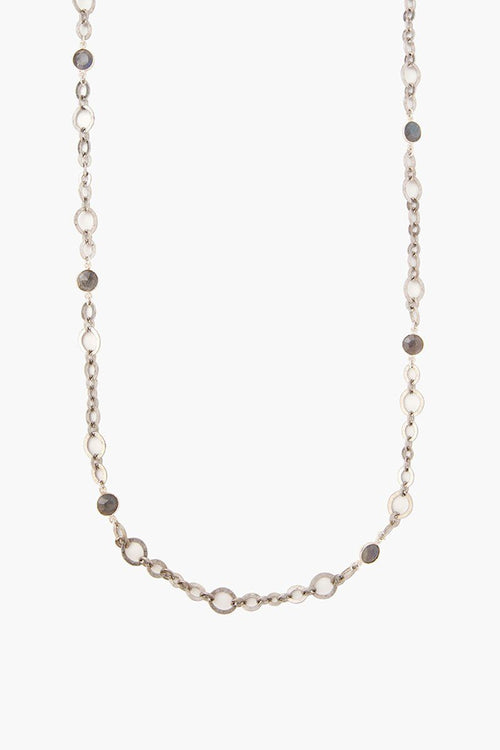 Silver Labradorite Chain Link Necklace