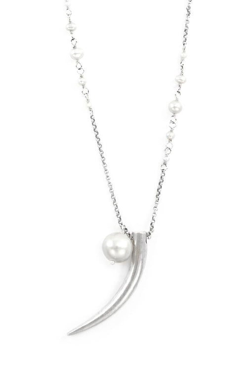 Grey Pearl Horn Layering Necklace