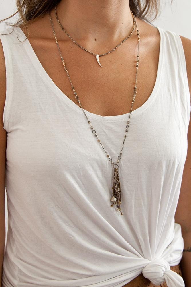 Abalone Mix Layering Tassel Necklace