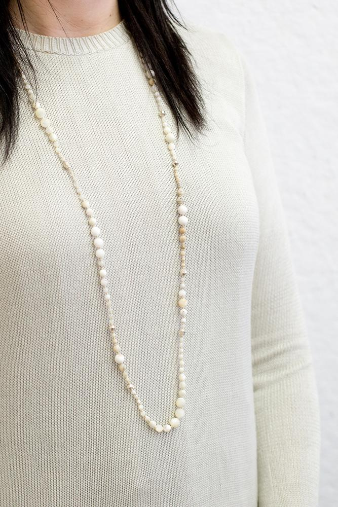 White Mix Graduated Layering Necklace